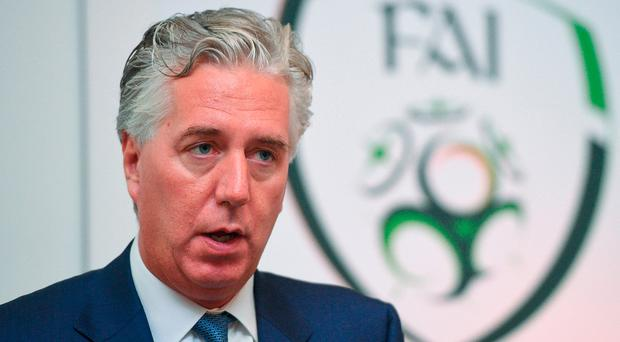 FAI Chief Executive John Delaney speaks during the Football For All Strategic Plan Launch at the Marker Hotel in Dublin. Photo: Cody Glenn/Sportsfile