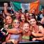 Supporters of Conor McGregor gather in Toshiba Plaza in Las Vegas ahead of the fight on Saturday. Photo: Sportsfile