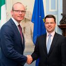 Foreign Affairs Minister Simon Coveney met Northern Ireland Secretary James Brokenshire in Dublin yesterday. Picture: PA