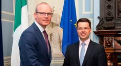Foreign Affairs Minister Simon Coveney met Northern Ireland Secretary James Brokenshire in Dublin. Picture: PA