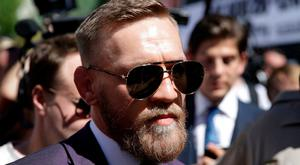 Conor McGregor leaves the stage in Las Vegas
