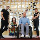 Campaigners Niall Breslin, Sinead Burke, Mark Pollock and Caroline Casey at The Convention Centre Dublin.