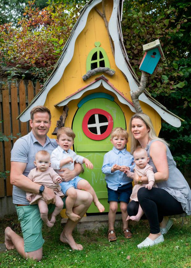 Janette McGuinness Davis with her husband John Paul McGuinness and their kids Elijah age 3, Isaac 20 months, twins Sienna & India 7 months. Janette conceived naturally after several rounds of IVF.