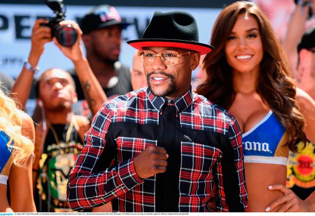 22 August 2017; Floyd Mayweather Jr during the Grand Arrival at Toshiba Plaza in Las Vegas, USA, ahead of his boxing match with Conor McGregor at T-Mobile Arena in Las Vegas on Saturday August 26. Photo by Stephen McCarthy/Sportsfile