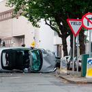 The scene of the crash at Adelaide Road/Earlsford Tce last night. PIC COLIN O'RIORDAN