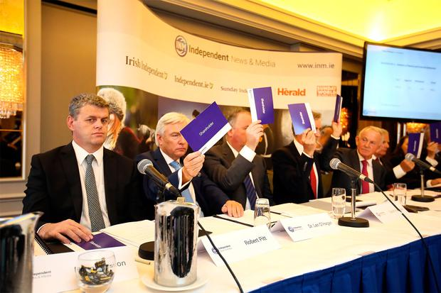 Robert Pitt, CEO Independent News and Media, abstains from voting for the re election of IN&M chairman Leslie Buckley during the Independent News & Media AGM in the Westbury hotel. Photo: Frank McGrath