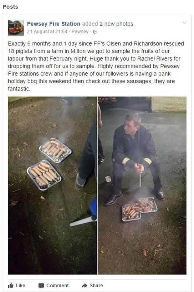 They posted a picture of the sausages on Facebook Credit: Peswey Firefighters