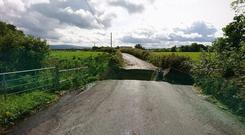 The bridge collapsed on the Muff to Iskaheen road in Inishowen