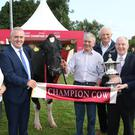 Pictured with the winning cow is Hazel Chu, Head of Corporate & Trade Relations for Diageo Ireland, Robert Murphy, Head of Baileys Operations, breeder Sam McCormick, Bangor, Co. Down, Henry Corbally, Chairman Glanbia Ireland, Minister fo Michael Ring and Minister Heather Humphries.