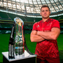 Munster's CJ Stander with the Guinness PRO14 trophy at yesterday's launch in the Aviva Stadium. Photo by Ramsey Cardy/Sportsfile