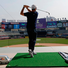 Rory McIlroy hitting some golf balls at Yankee Stadium in New York as part of a FedEx charity event for the St Jude Children's Research Hospital. Image: AP Photo