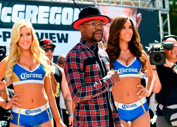 Boxer Floyd Mayweather promoting the fight in Las Vegas. Photo: GETTY
