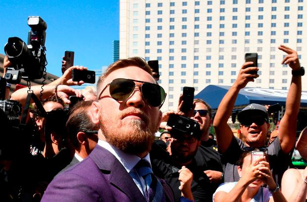 UFC lightweight champion Conor McGregor arrives at Toshiba Plaza in Las Vegas, Nevada. Photo: GETTY