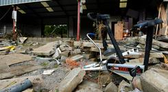 General view of flood-damaged boxing club in Buncrana, Co. Donegal. Picture: Caroline Quinn