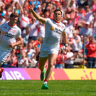 Ronan O'Neill celebrates after scoring a goal for Tyrone in the Ulster SFC final against Down. Photo: Philip Fitzpatrick/Sportsfile