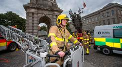 Luke McCann of the Dublin Fire Brigade at the launch of details of the musical tribute to fallen colleagues from the emergency services. Photo: Mark Condren