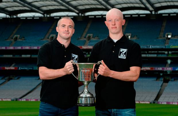 Dub hurlers David O'Callaghan and Fergal Whitely at the Applegreen Kilmacud All-Ireland Hurling 7s launch. Photo by Piaras Ó Mídheach/Sportsfile