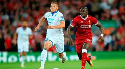 Liverpool's Sadio Mane shows Hoffenheim's Pavel Kaderabek a clean pair of heels at Anfield last night. Photo by Jan Kruger/Bongarts/Getty Images