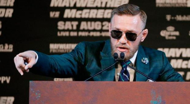 Conor McGregor speaks during news conference Wednesday. (AP Photo/John Locher)