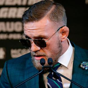 Conor McGregor speaks during last night's press conference in Las Vegas