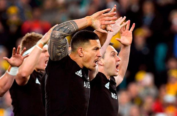 New Zealand's All Blacks centre Sonny Bill Williams (C) performing the haka with teammates Sam Cane (L) and Ben Smith (R) before their Rugby Championship test match against the Australian Wallabies in Sydney last week