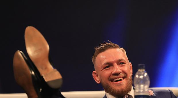 Mayweather versus McGregor, London World Tour; Conor McGregor during the press conference (Photo by Shaun Brooks/Action Plus via Getty Images)