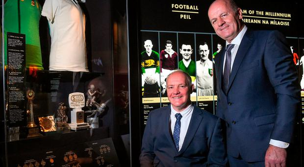 Offaly legend Matt Connor and Kerry great Jack O'Shea after being inducted into the GAA Hall of Fame in Croke Park. Photo by Matt Browne/Sportsfile