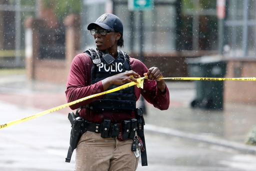 Charleston, S.C. Police Department blocks the street during an active hostage situation (AP Photo/Mic Smith)