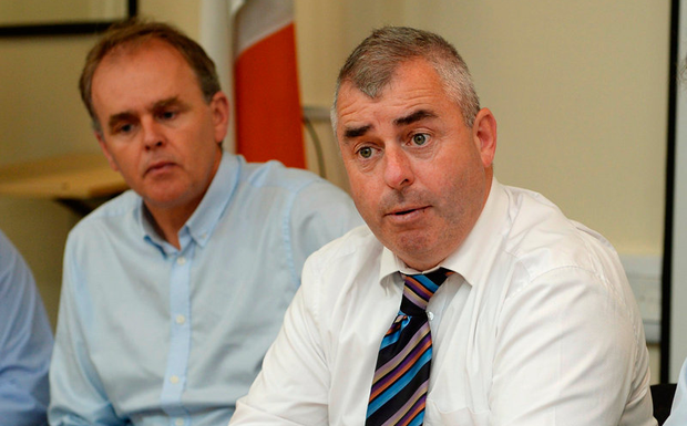 Ministers of State Joe McHugh and Kevin 'Boxer' Moran at the emergency meeting to discuss the flooding in Inishowen, Donegal. Photo: Caroline Quinn