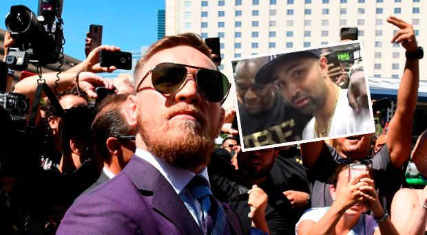 Conor McGregor and (inset) Mayweather with Paulie Malignaggi