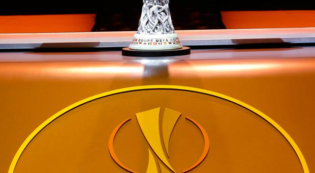 The trophy is displayed before the UEFA Europa League Group Stage draw