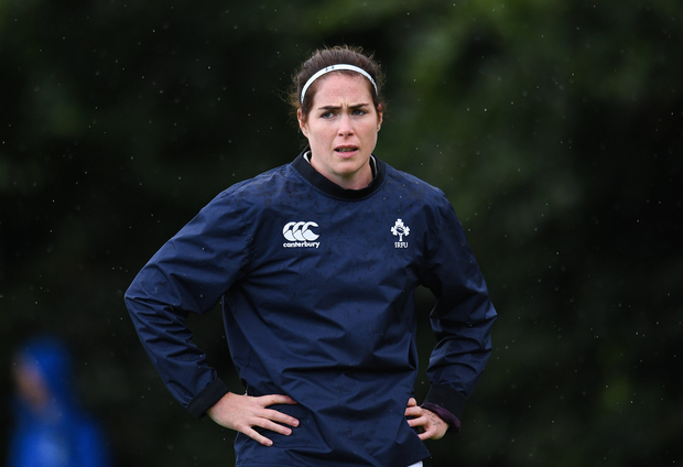 Nora Stapleton of Ireland during the Ireland Women's Rugby Captains Run at UCD, in Dublin. Photo by Eóin Noonan/Sportsfile