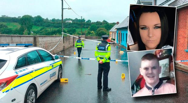 Scene of the stabbing in Castlecomer and inset Corina Hennessy and brother Jamie