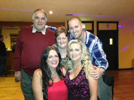 Edel Tahran (bottom left) pictured with her sister Catherine, brother Jonathan and her dad and mam