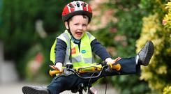 James Kelly (5), from Dublin, at the launch of the Road Safety Authority ESB Networks 'Back to School' road safety campaign in Dublin