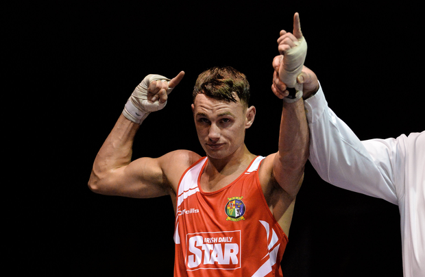 Seán McComb of Ireland, after defeating Mason Smith of England in their 64kg bout at the Ireland v England Boxing International in the National Stadium, Dublin. Photo by Piaras Ó Mídheach/Sportsfile
