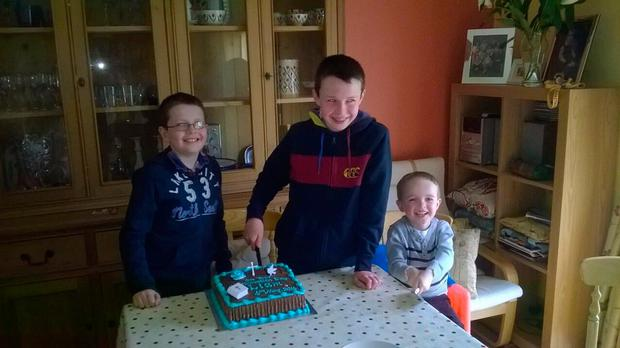 The three brothers - Ryan, Niall and Liam - celebrate a birthday at the family home in Castlerahan, near Ballyjamesduff, Co Cavan.