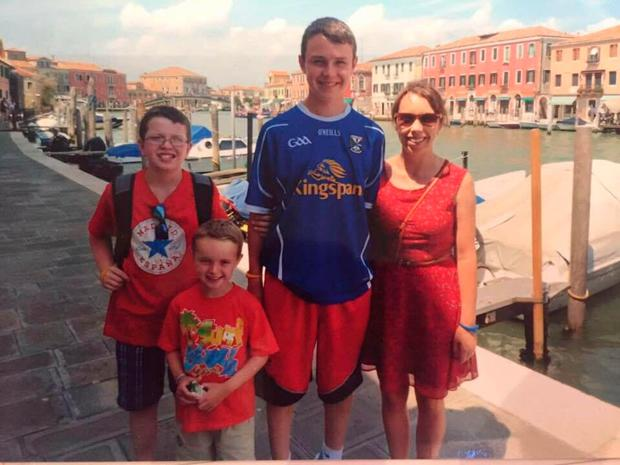 Clodagh Hawe with her sons Niall, Ryan and Liam on a holiday in Venice