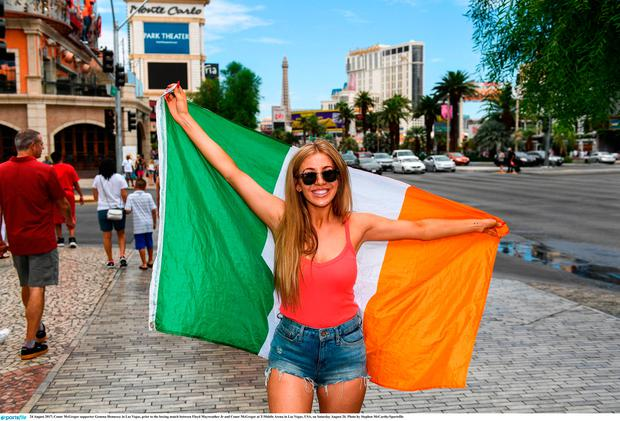 24 August 2017; Conor McGregor supporter Gemma Hennessy in Las Vegas, prior to the boxing match between Floyd Mayweather Jr and Conor McGregor at T-Mobile Arena in Las Vegas, USA, on Saturday August 26. Photo by Stephen McCarthy/Sportsfile