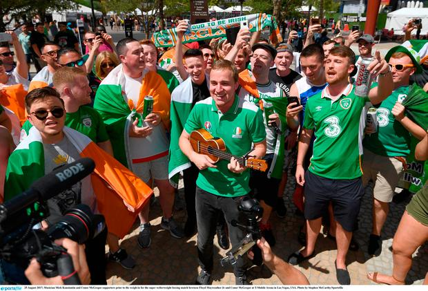 25 August 2017; Musician Mick Konstantin and Conor McGregor supporters prior to the weigh-in for the super welterweight boxing match bewteen Floyd Mayweather Jr and Conor McGregor at T-Mobile Arena in Las Vegas, USA. Photo by Stephen McCarthy/Sportsfile