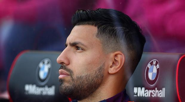 Sergio Aguero of Manchester City looks on from the bench during the Premier League match between AFC Bournemouth and Manchester City at Vitality Stadium on August 26, 2017 in Bournemouth, England. (Photo by Steve Bardens/Getty Images)
