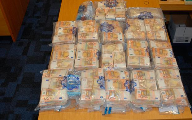 The cash seized by gardaí. Picture: Garda Press Office