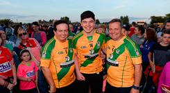 Marty Morrissey, Adam Burke, and Davy Fitzgerald at the RTÉ Adam Burke Fundraiser Launch. Conleths Park, Newbridge, Co Kildare. Photo by Piaras Ó Mídheach/Sportsfile