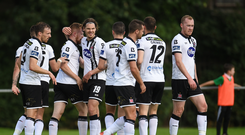 Sean Hoare of Dundalk, third from left, celebrates scoring his side's second goal with Niclas Vemmelund of Dundalk and team-mates during the Irish Daily Mail FAI Cup Second Round match between Crumlin United and Dundalk at Iveagh Grounds in Drimnagh, Dublin. Photo by Cody Glenn/Sportsfile