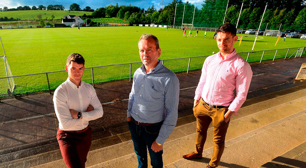 The Donnelly men (left to right) Richie, Liam and Mattie at the GAA club in Trillick. 'Last Sunday they sat side by side in Croke Park as Mayo and Kerry played out a draw.' Photo: Arthur Allison/Pacemaker
