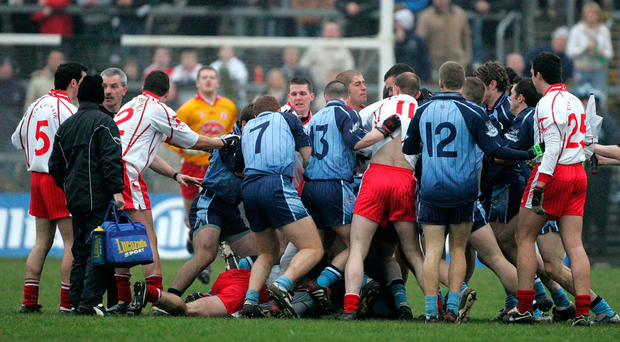 Dublin and Tyrone players scuffle during the Allianz National Football League, Division 1A, Round 1, match in February 2006. Photo: Oliver McVeigh/Sportsfile