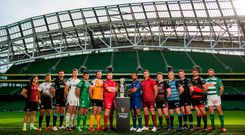Players at the Guinness PRO14 season launch at the Aviva Stadium Photo: Ramsey Cardy/Sportsfile