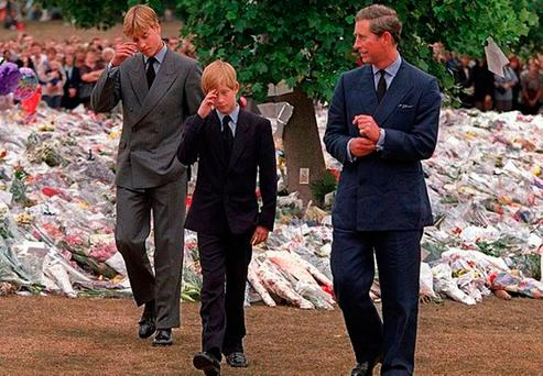 William and Harry after viewing some of the floral tributes to their mother