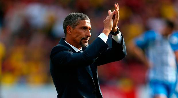 Brighton & Hove Albion manager Chris Hughton reacts after the final whistle Photo: Scott Heavey/PA Wire
