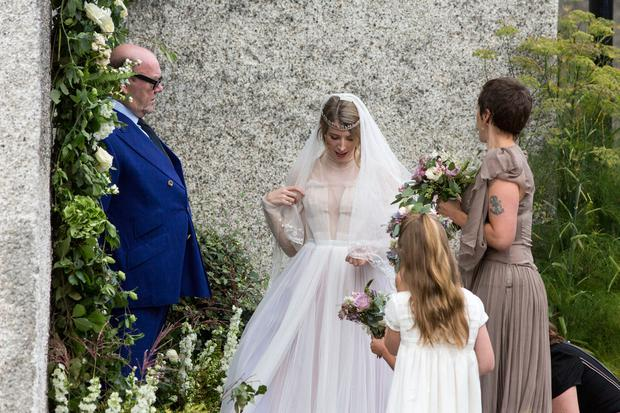 Actress, writer, director Alexandra McGuinness with her father former U2 manager Paul McGuiness on her wedding day at Killiskey Parish Church near Ashford. Pic:Mark Condren 26.8.2017